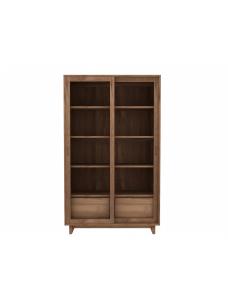 Teak Wave boekenkast - 2 glazen schuifdeuren - 2 lades