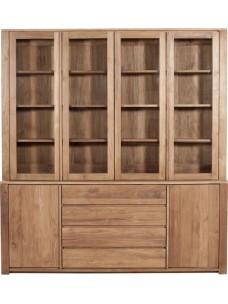 Teak Lodge kast - 4 glazen deuren/2 deuren/3 lades