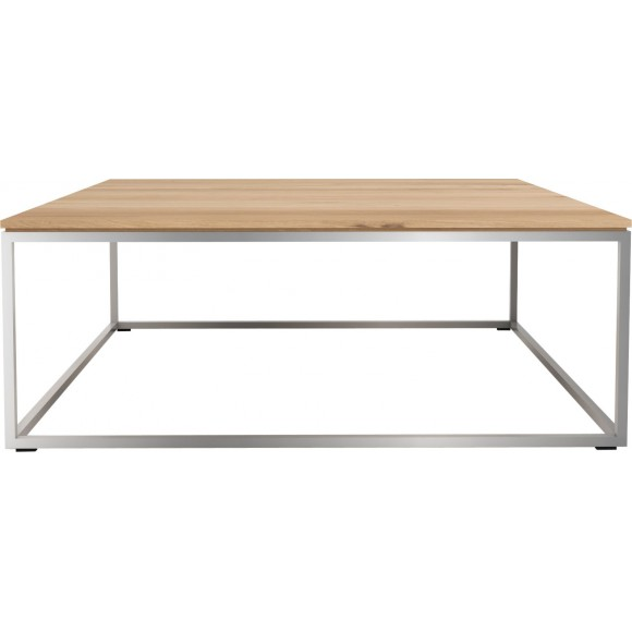 Oak Thin salontafel - stainless steel frame 80 x 80 x 30 cm