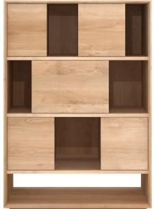 Oak Nordic hoog boekenrek - 6 schuifdeuren