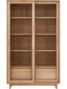 Oak Wave boekenrek - 2 glazen schuifdeuren - 2 lades
