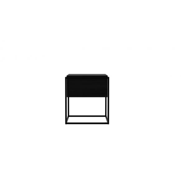 Monolit nachtkastje/bijzettafel - eik zwart - 1 lade