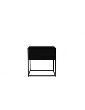 Monolit bijzettafel eik zwart M (afneembaar deksel)