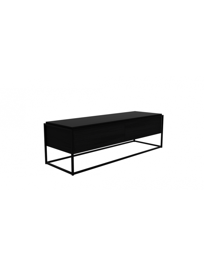 Tv Kast Bed.Monolit Tv Kast Eik Zwart 1lade 1 Neerklap Deur 140x45x42cm