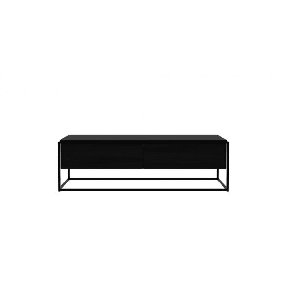 Monolit tv-kast eik zwart - 1lade - 1 neerklap deur - 140x45x42cm