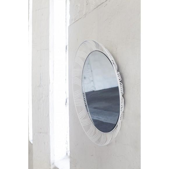 Spiegel ovaal 80X65XH6cm ijzeren frame wit